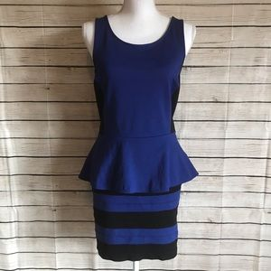Express Dresses - Express Blue and Black Peplum Top/Bandage Skirt